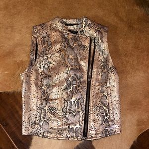 GUESS silver black and gold zip up vest